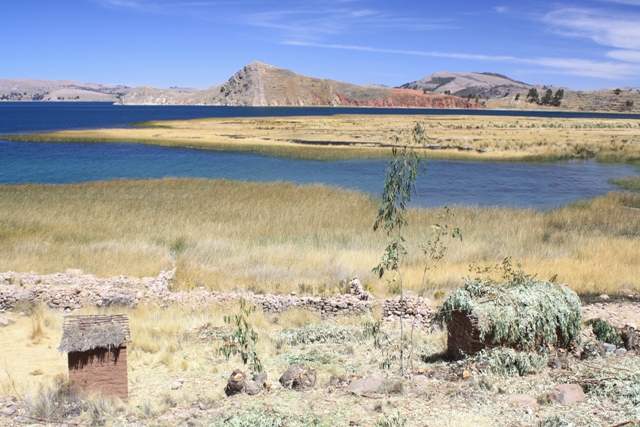 Rare view of the lake on the road round the east shore of Titicaca