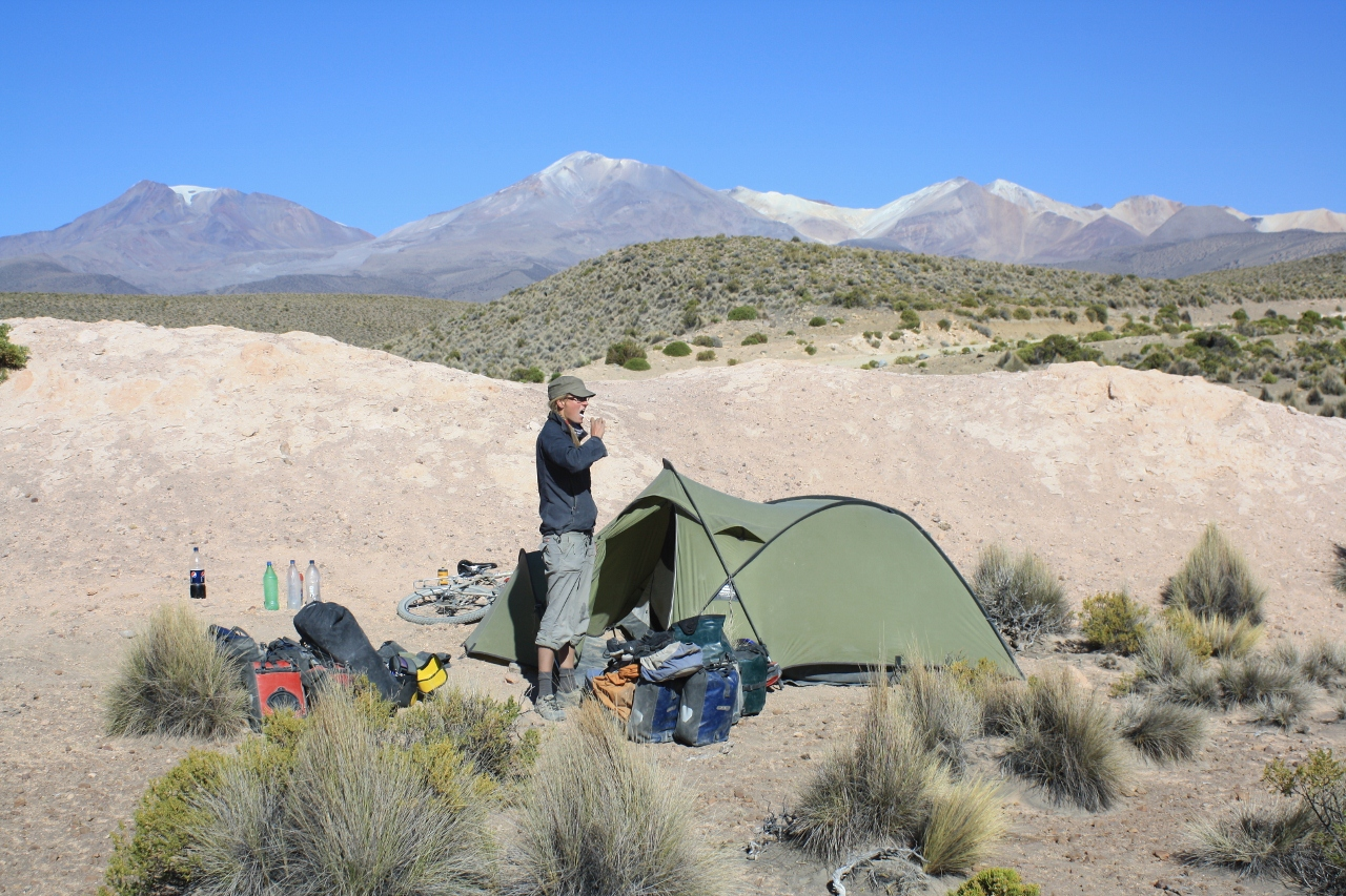 Camp near the Rio Sajama