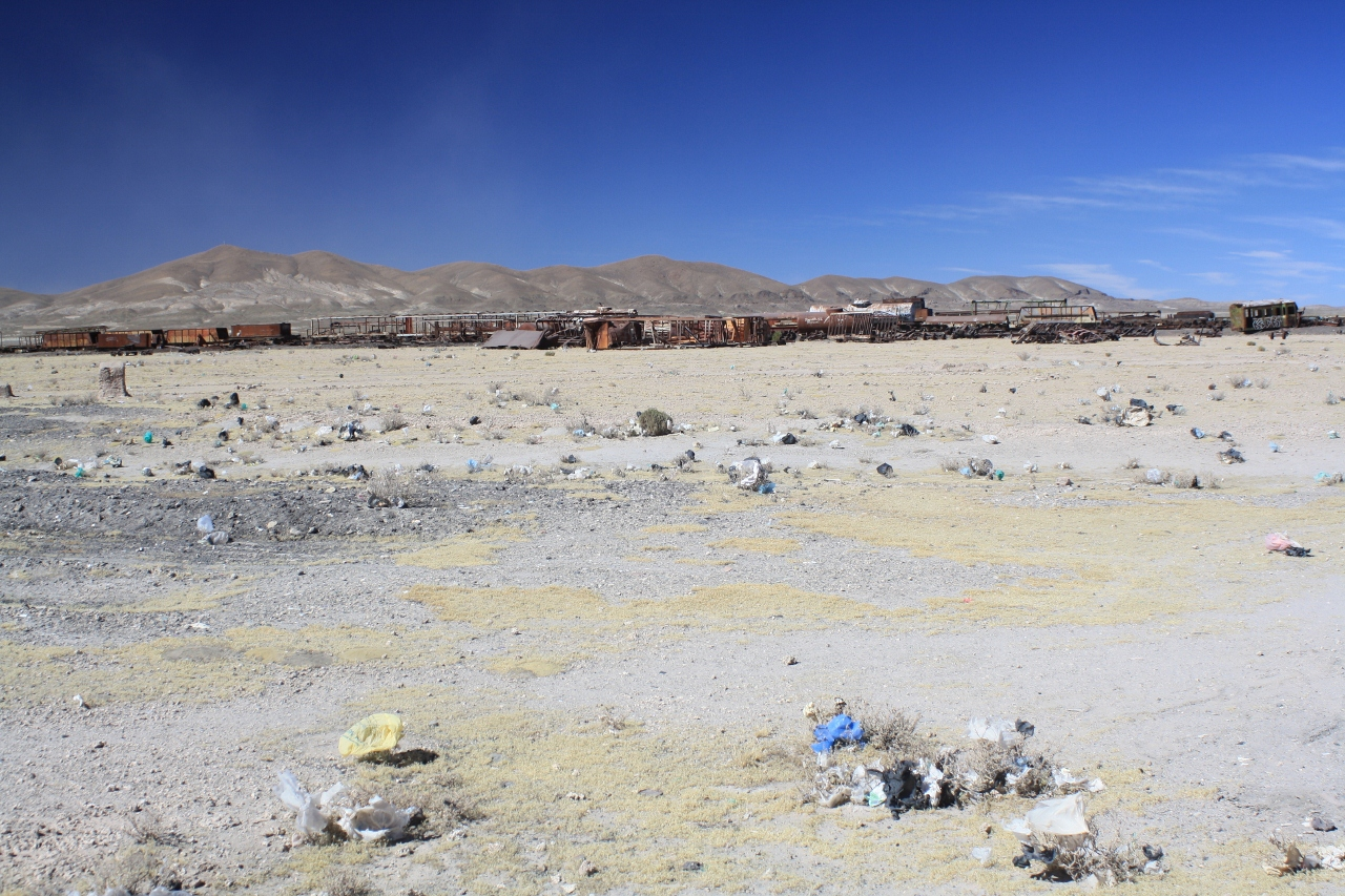 Uyuni train graveyard and litter