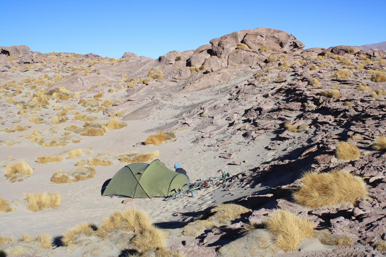 Wild camping above Salar Capina