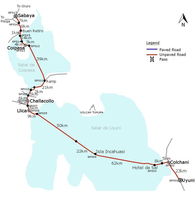Cycling Salar de Uyuni and Salar de Coipasa Route Information